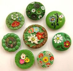 Painted Green Glass Buttons