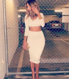 white crop top and pencil skirt, lovely