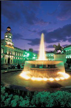 Madrid, Spain: Puerta del sol square at night!