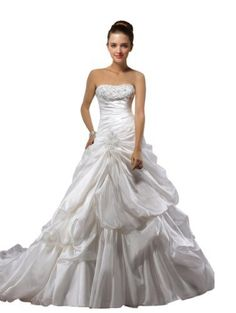 Vogue Bridal White Beaded Appliques Pick-up Ball Gown Taffeta Wedding Dress, http://www.amazon.com/dp/B00BM6DTTU/ref=cm_sw_r_pi_awd_9dY-rb1C49Z8G