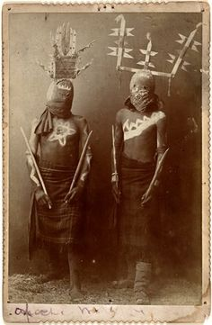 Untitled [Two Apache Gaan Dancers], ca. 1900