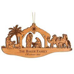 Personalized Wood Christmas Ornament - Nativity Scene Nativity Ornament - Custom…