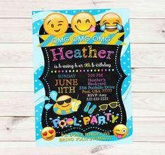 Emoji Pool Party Waves Dots Chalkboard Banner Birthday Invitation - Custom Order