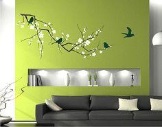 Cherry Blossom Tree Branch Wall Decals with door singlestonestudios