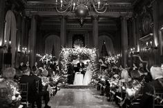gorgeous winter wedding ceremony - lights! and chuppah! - magical