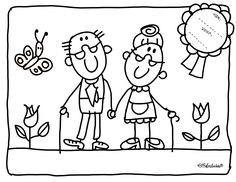 kleurplaat opa en oma Renewal of THE VOWs Art Drawings For Kids, Drawing For Kids, Colouring Pages, Coloring Books, Stick Family, Grands Parents, Doodle Designs, Stick Figures, Hand Embroidery Patterns