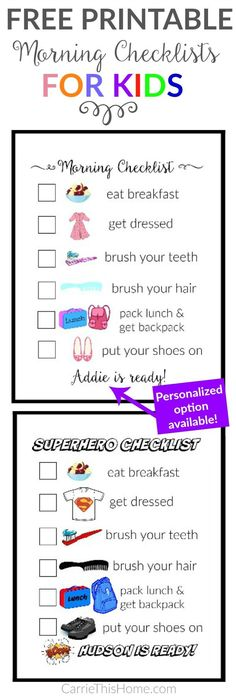 Teach your kids to get themselves ready with this super helpful morning checklist! Both versions have visual cues so it's perfect for pre-readers. There's even a personalized option availiable! Get your kids ready without nagging with these Free printable morning checklists for kids from CarrieThisHome.com #parenting #parentinghacks
