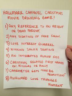 The Hallmark Channel Christmas movie drinking game.