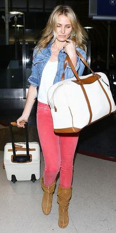 23 Ways to Style a Denim Jacket, Inspired by the Stars | InStyle.com Ever the globe-trotter, Cameron Diaz integrated the classic piece into her jet-setting style, pairing it with faded red skinnies, a white tee and slouchy boots.
