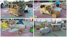 Réalisations par les associations &qout;Idées détournées&qout; et &qout;Palettes du coeur&qout; de mobiliers en palettes recyclées pour une aire de jeux d'enfants.…
