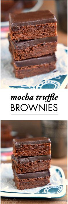 Are you and your friends craving chocolate? These decadent Mocha Truffle Brownies will hit the spot at your next girlfriend get-together. This dessert is baked to perfection and topped with a decadent chocolate ganache frosting.