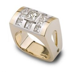 Skydome Collection - 1.02 ct Princess Cut Diamond accented by Diamonds set in Platinum and 18K Yellow Gold.