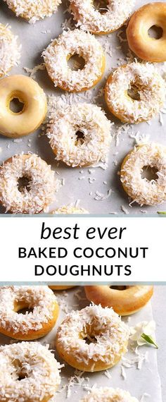 Baked coconut doughnuts dunked in sweet coconut glaze and sprinkled with flaked coconut make the perfect treat for weekend brunch or Easter! Coconut Donut Recipe, Baked Doughnut Recipes, Baked Doughnuts, Coconut Recipes, Mini Doughnuts, Homemade Pastries, Homemade Donuts, Homemade Desserts, Healthy Donuts
