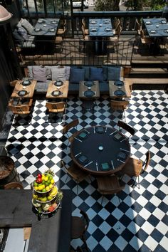Restaurant black and white checkered floor