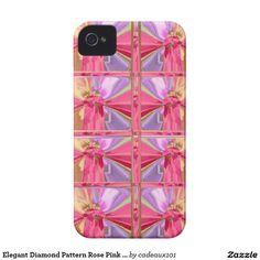 Elegant Diamond Pattern Rose Pink Smile Happy Show iPhone 4 Case-Mate Case