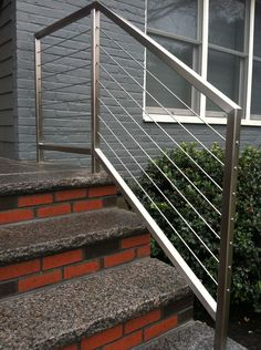 Looking for Modern Stair Railing Ideas? Check out our photo gallery of Modern Stair Railing Ideas He Stainless Steel Stair Railing, Cable Stair Railing, Exterior Stair Railing, Outdoor Stair Railing, Stair Handrail, Staircase Railings, Staircase Design Modern, Modern Stair Railing, Balcony Railing Design