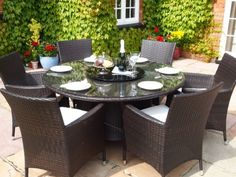 Sidney Grey Rattan Garden or Conservatory Round Dining Table and 6 Chairs Furniture Set Price Fire Pit Furniture, Rattan Garden Furniture, Pool Furniture, Outdoor Garden Furniture, Fine Furniture, Outdoor Dining Set, Round Dining Table, Outdoor Living, Outdoor Decor