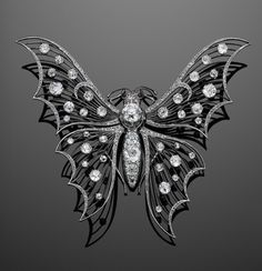Belle Epoque Platinum and Diamond Tremblant Butterfly Brooch, circa 1910