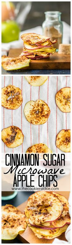 Cinnamon Sugar Microwave Apple Chips Recipe - The Cookie Rookie Cinnamon Sugar Microwave Apple Chips! The perfect sweet snack made in about 6 minutes! Healthy, delicious, and SUPER EASY! Chef Recipes, Fruit Recipes, Apple Recipes, Fall Recipes, Snack Recipes, Dessert Recipes, Cooking Recipes, Healthy Recipes, Vegan Desserts