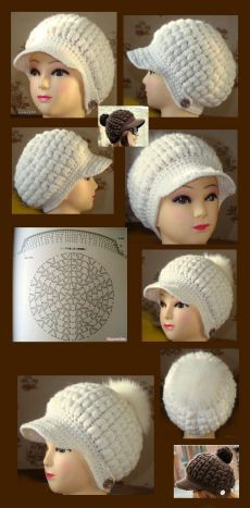 This Pin was discovered by Таи Crochet Summer Hats, Bonnet Crochet, Crochet Beanie Pattern, Crochet Beanie Hat, Crochet Cap, Crochet Motifs, Crochet Baby Shoes, Crochet Baby Clothes, Crochet Stitches Patterns