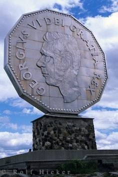 The Big Nickel in Sudbury, Ontario - I just noticed how old this nickel must be since it's King George VI on there instead of Queen Elizabeth II.