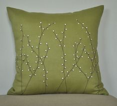 Pussy Willow Throw Pillow Cover, Decorative Pillow Cover 18 x Chartreuse Green Linen Pussy Willow Embroidery, Green Pillow Case, Cushion Sewing Pillows, Diy Pillows, Cushions, Throw Pillows, Green Pillow Cases, Green Pillows, Cushion Embroidery, Embroidery Patterns, Decorative Pillow Covers