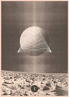 geometric, grayscale, moon, poster, retro