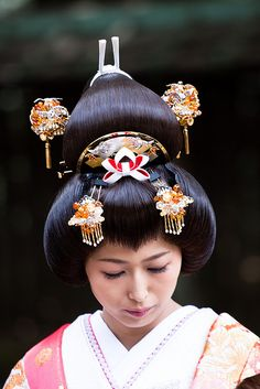 .Japan, Hanayome Bridal Style, Traditional Samurai Wedding Style of Bunkin Takashimada, (This is NOT a geisha.)