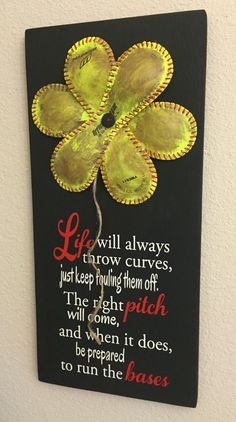 Softball - Life Will Always Throw Curves, Baseball/Softball Sign Decor, Inspirational Quote, Baseball Softball Flower Yellow Softball - pinned by pin4etsy.com