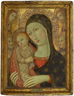 Sano di Pietro (Siena 1406-1481), The Madonna and Child with Saint Bernardino of Siena, a male saint and two angels