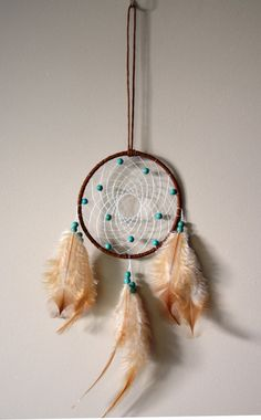 Brown Dream Catcher With Turquoise Stone by DreamySummerNights