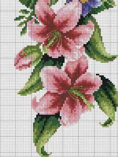 This Pin was discovered by Lin Cross Stitch Rose, Cross Stitch Borders, Counted Cross Stitch Patterns, Cross Stitch Charts, Cross Stitching, Cross Stitch Embroidery, Diy Flowers, Hibiscus, Needlework