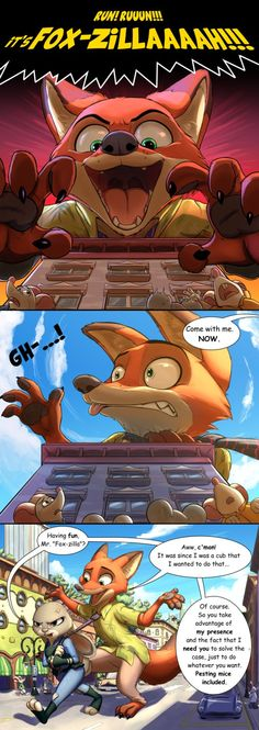 Mice are not amused. by Dexter01992.deviantart.com on @DeviantArt What if Nick was already following Judy when she was wandering around Little Rodentia? Would he keep himself quiet, knowing that he's having a chance to go around the predator equivalent of an amusement park, while having a cop that would forgive almost anything he does, since she absolutely needs of him? Of course not! And as the spiteful Fox he is, he knows what to do... #city #godzilla #hopps #joke #judy #mice #mouse #nick