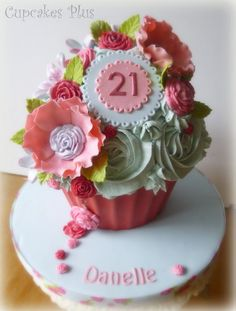 21st Birthday giant cupcake - by cupcakesplus @ CakesDecor.com - cake decorating website