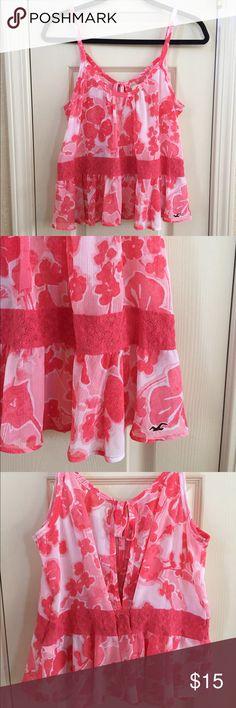 Hollister Tank Top Pink floral tank top, ties in the back. 100% polyester. Hollister Tops Tank Tops
