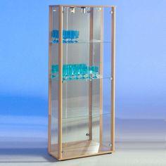marine modern glass display cabinet in beech