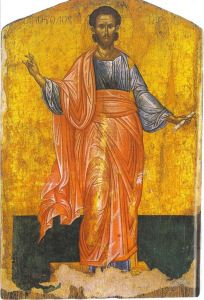 Saint Sosipatros the Apostle Byzantine Icons, Byzantine Art, Luke The Evangelist, Orthodox Icons, Illuminated Manuscript, Fresco, Saints, Painting, Mosaics