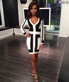 Free Shipping Bandage Dresses for Women 2016 Sexy Deep v Neck Black and White Long Sleeve Graphic Print Bodycon Bandage Dress HL * Check this awesome product by going to the link at the image.