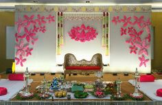 Mesmerize your guests with the charm of these engagement stage decorations ideas. Discover about the latest Engagement Stage Decoration Ideas with this post. Engagement Stage Decoration, Naming Ceremony Decoration, Wedding Hall Decorations, Marriage Decoration, Ceremony Decorations, Baby Shower Decorations, Flower Decorations, Garland Wedding, Birthday Decorations