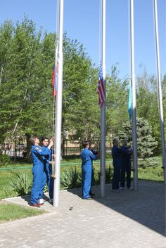 @AstroAcaba Traditional flag raising ceremony this morning. Another good day in Baikonur.