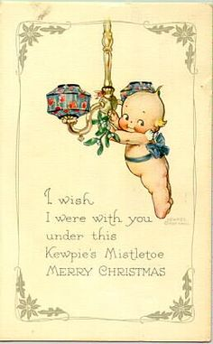 Kewpie Doll Rose O'neill Antique Gibson Art postcard 1910 Xmas ~Original item