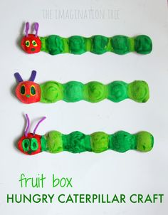 a hungry caterpillar craft (made using a fruit box)