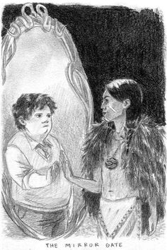 """Atreyu and Bastian catch sight of each other in the Mirror Gate, catching a glimpse, as well, of """"The Neverending Story"""" -- whose widening circumference catches even the reader reading these words."""
