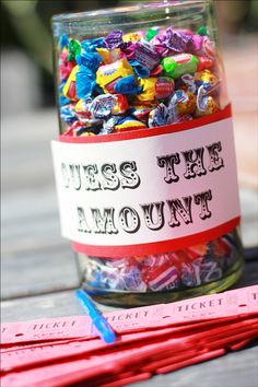 DIY Circus Birthday Party Fun fund-raiser / stall idea =] who doesn't love sweets? Fundraising Activities, Party Activities, Party Games, Fundraising Events, Weekend Activities, Circus Party Foods, Circus Party Decorations, Carnival Ideas, Carnival Birthday