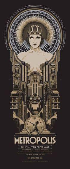 Art Déco - Affiche de film - Metropolis de Fritz Lang - 1927 Descubra 25 Filmes que Mudaram a História do Cinema no E-Book Gratuito em http://mundodecinema.com/melhores-filmes-cinema/