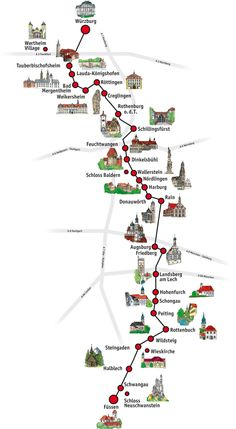 The Romantic Road Germany Travel Guide // Tips, Maps & Itinerary - The Romantic Road Germany // Map of 28 Towns and Villages - Romantic Road, Romantic Getaway, Romantic Travel, Reisen In Europa, Voyage Europe, Europe Europe, Destination Voyage, Romantic Vacations, Future Travel