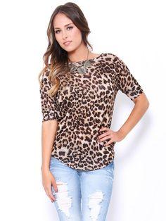 Cheetah Print Dolman Top