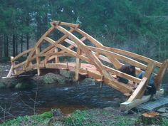Teds Woodworking® - Woodworking Plans & Projects With Videos - Custom Carpentry Outdoor Projects, Wood Projects, Woodworking Plans, Woodworking Projects, Wood Joinery, Bridge Design, Dome House, Wood Bridge, Garden Bridge