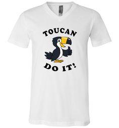 cool Toucan Do It Unisex V-Neck T-Shirt