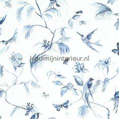 Blue exotic designed birds behang 17714 uit de collectie Designed for Living van BN Wallcoverings koop je bij kleurmijninterieur
